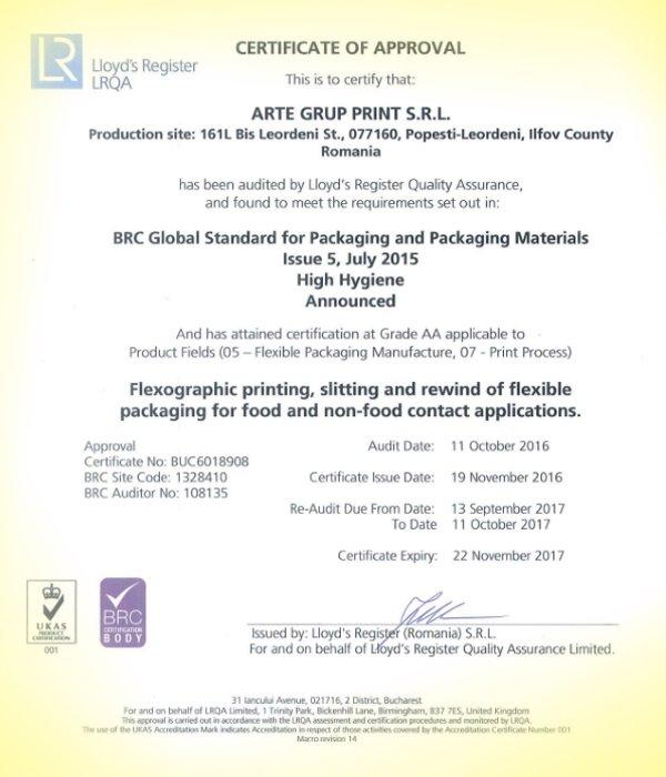 Certificari ArteGrup | printare etichete in rola | printare ambalaje